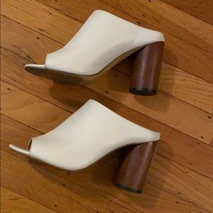 UO White Heeled Mules 7